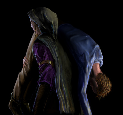 Zaya carrying man in blue